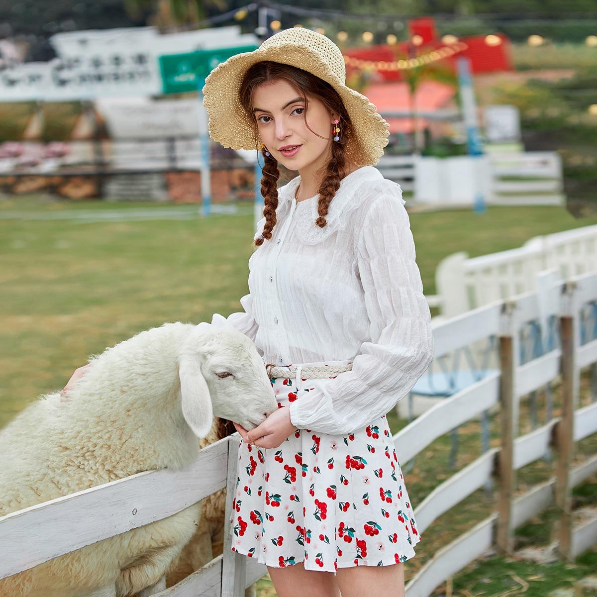 Пуговица Одноцветный милый Блузы по цене 826