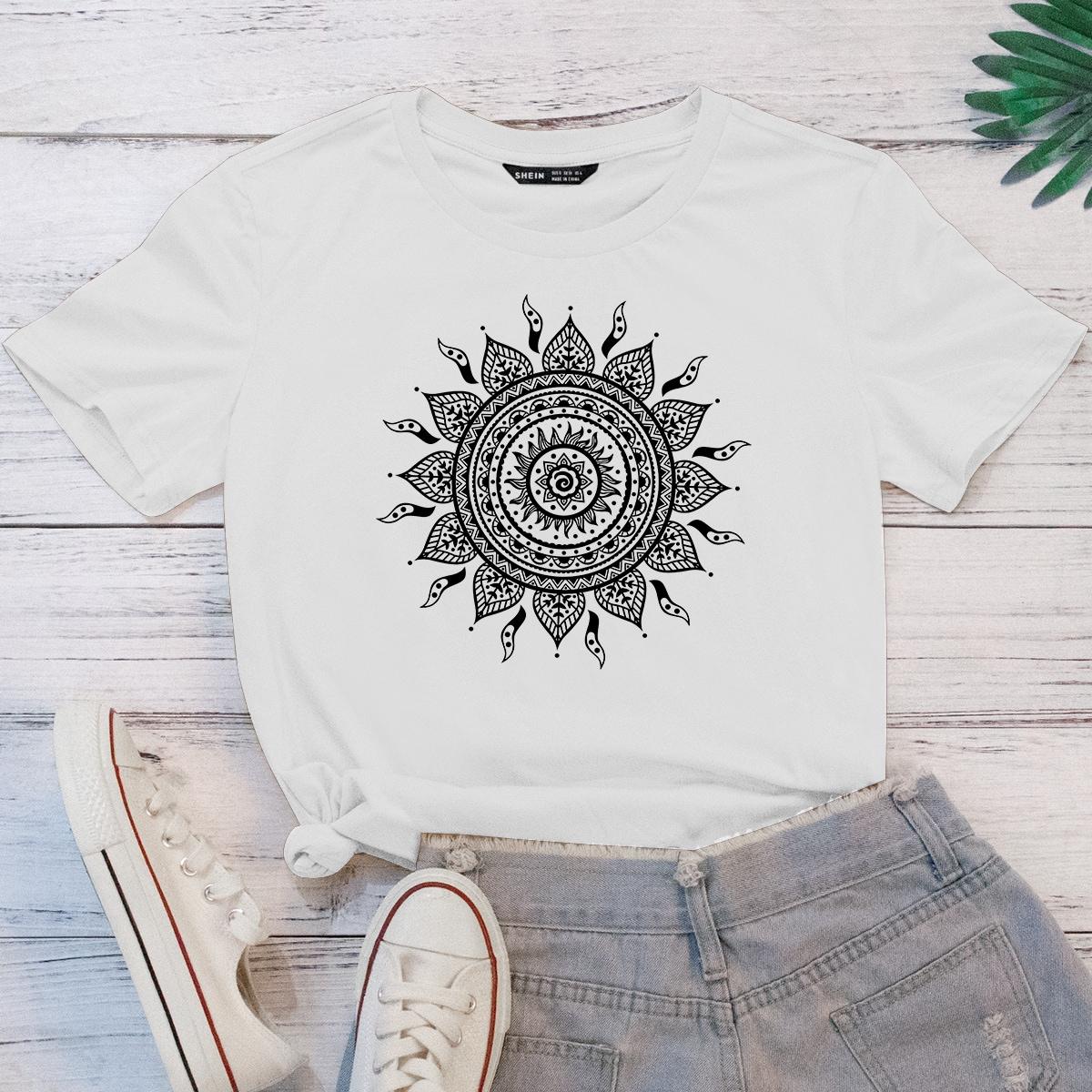 Mandala Print Short Sleeve Tee