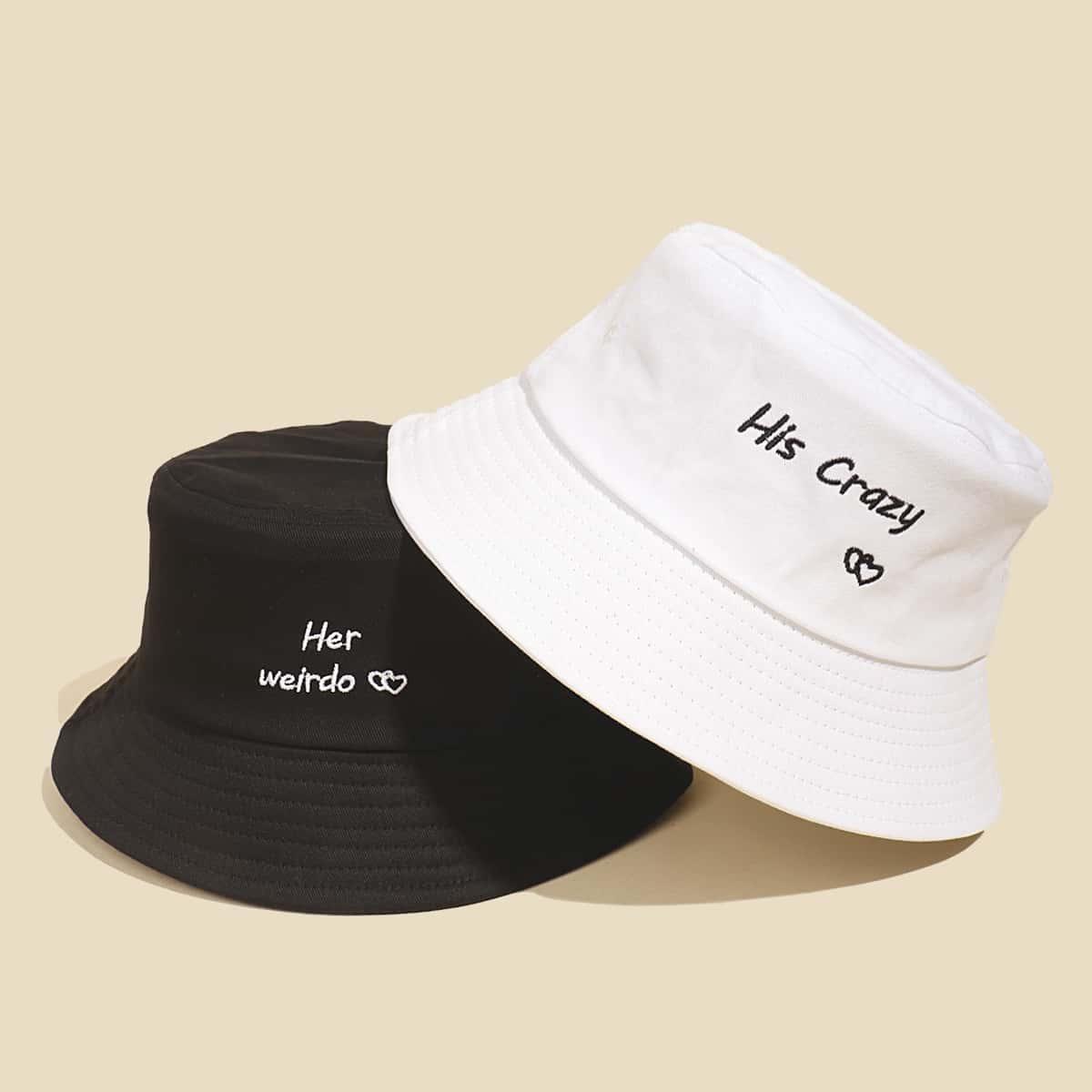 2шт шляпа с текстовой вышивкой