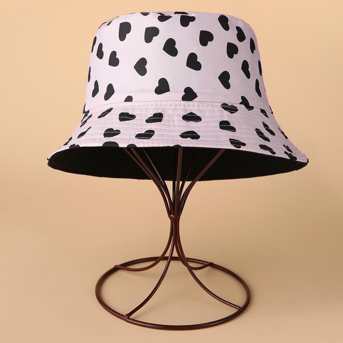 Двусторонняя шляпа с принтом сердечка