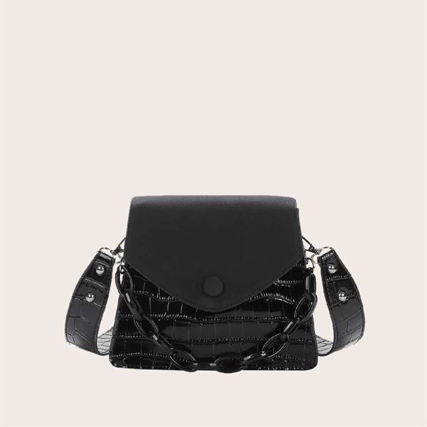 Croc Embossed Flap Chain Shoulder Bag, Black