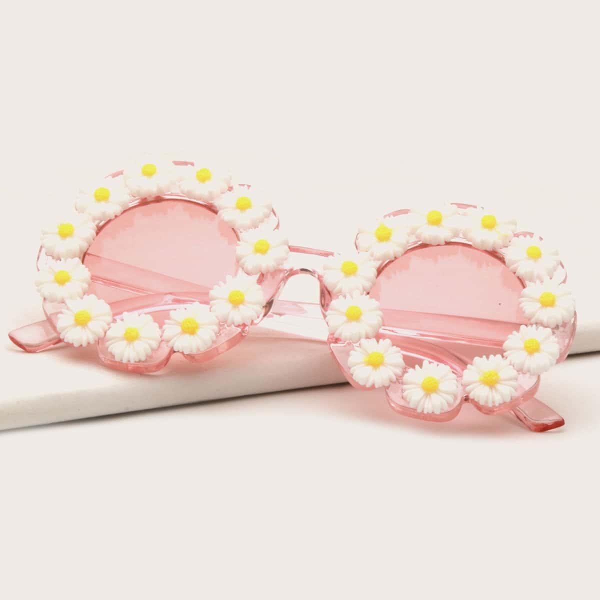 Girls Flower Decor Round Frame Sunglasses, SHEIN  - buy with discount
