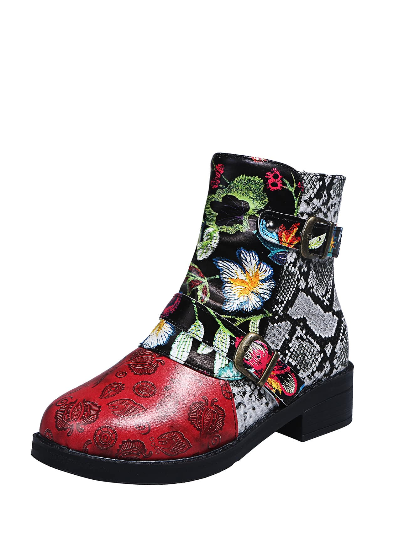 Snakeskin & Floral Ankle Boots