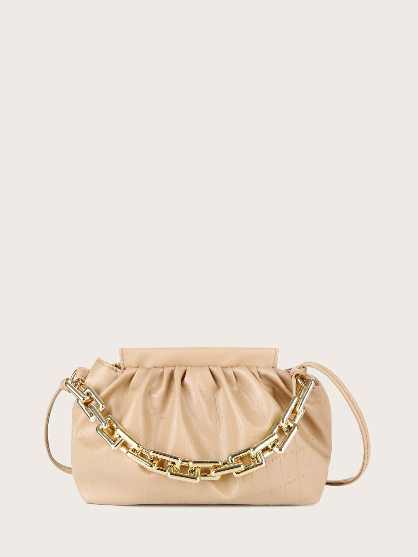 Croc Embossed Chain Ruched Bag thumbnail