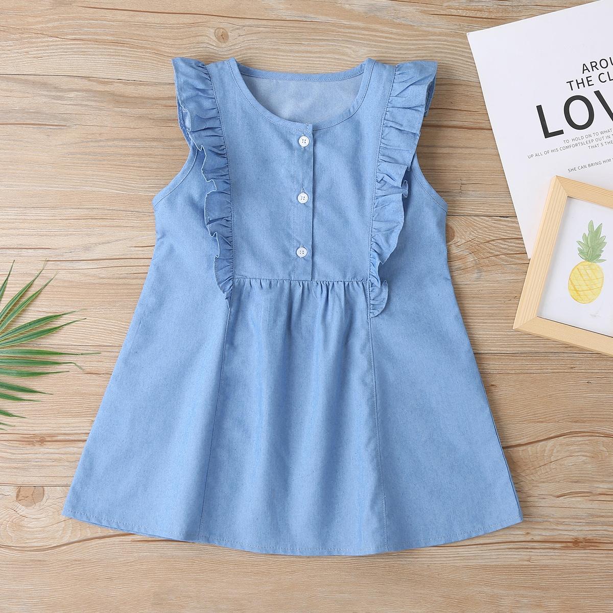 для девочек Джинсовое платье с оборкой SheIn skdress03201228582