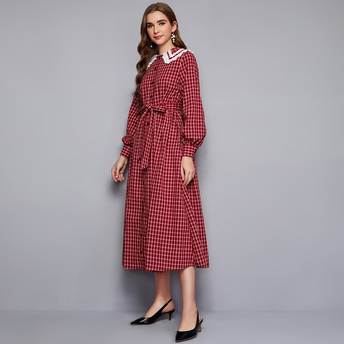 Платье с поясом в клетку