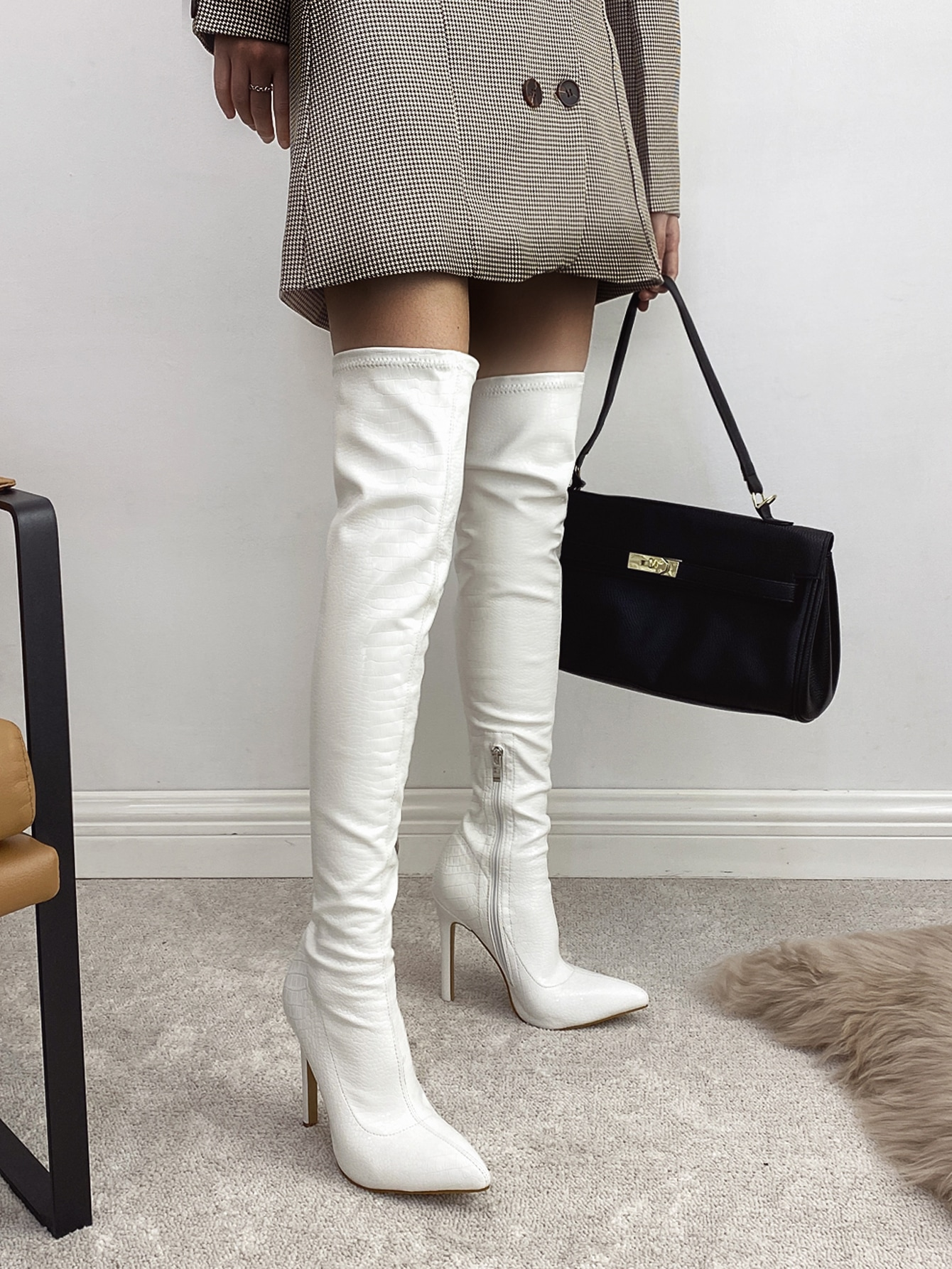 Point Toe Stiletto Heeled Over The Knee Boots