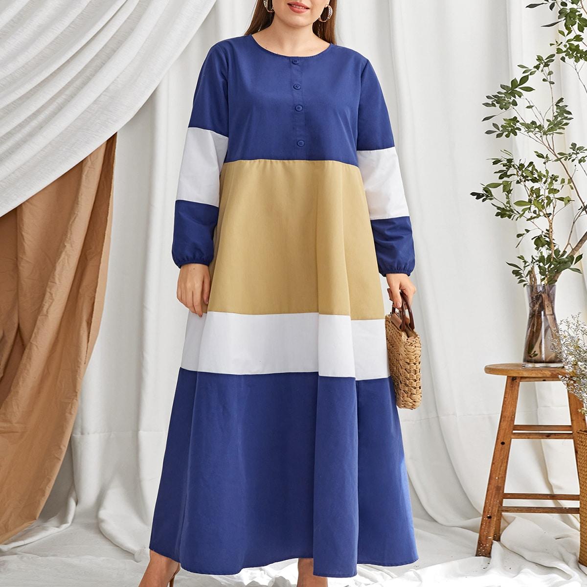 Контрастное платье размера плюс с пуговицами