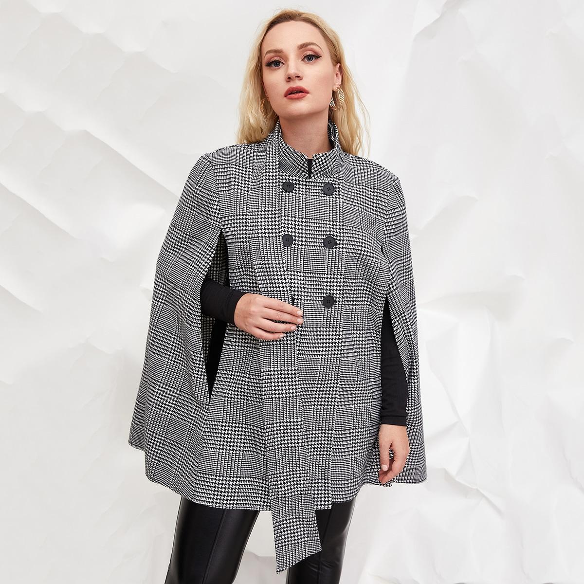 Двойная пуговица Хаундстут Элегантный Плюс размеры пальто