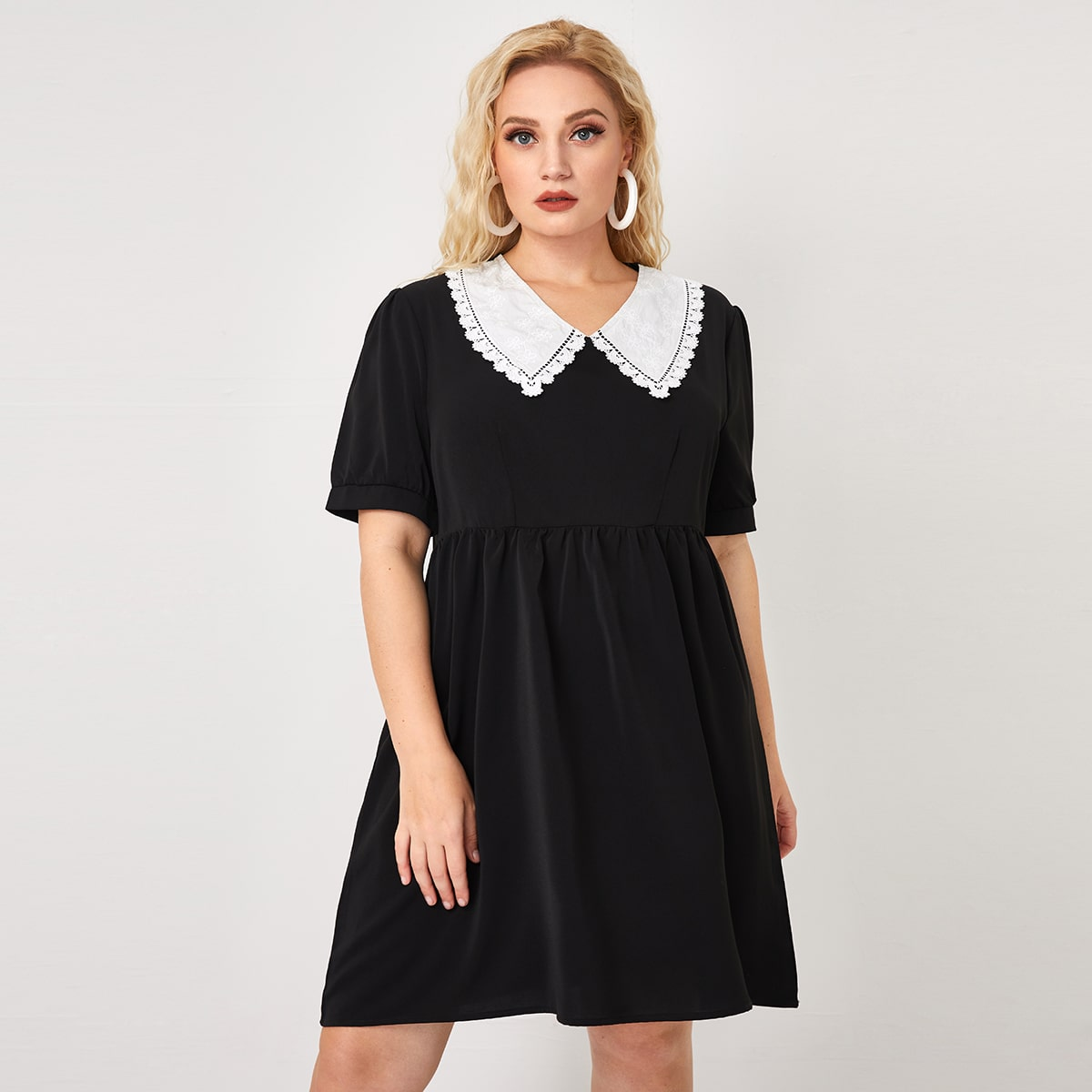 Контрастные кружева Контрастный цвет милый Платья размер плюс