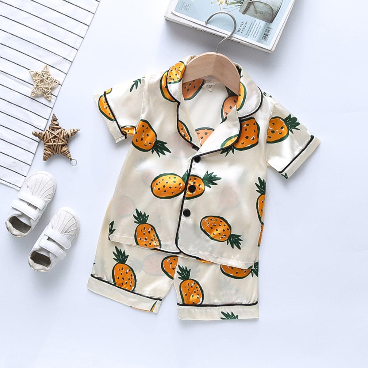 Контрастная отделка Фрукты и овощи милый Домашняя одежда для мальчиков