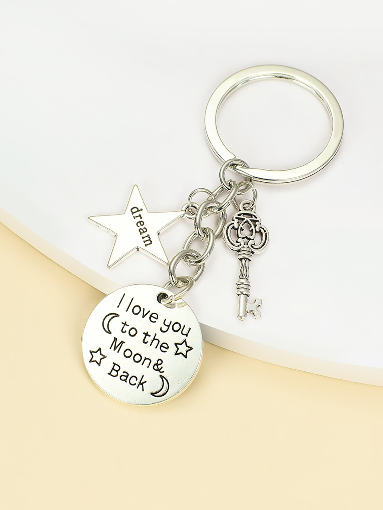 Letter Engraved Star Charm Keychain thumbnail