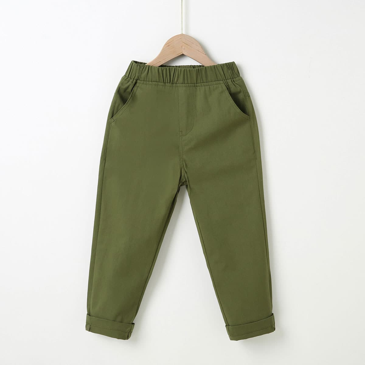 Pantalones de cintura elástica unicolor
