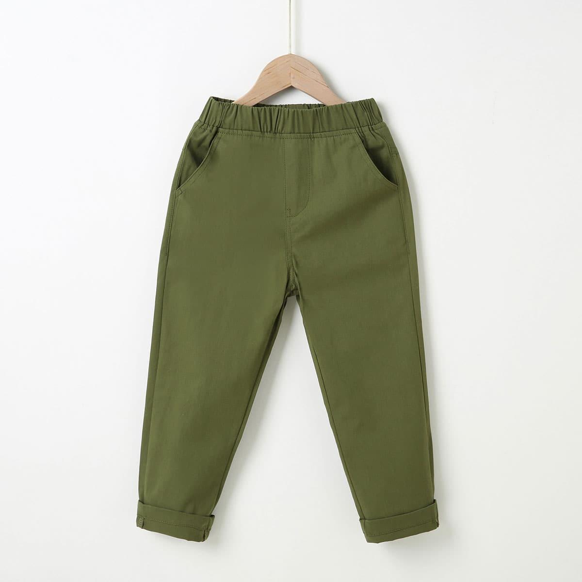 Boys Solid Elastic Waist Pants