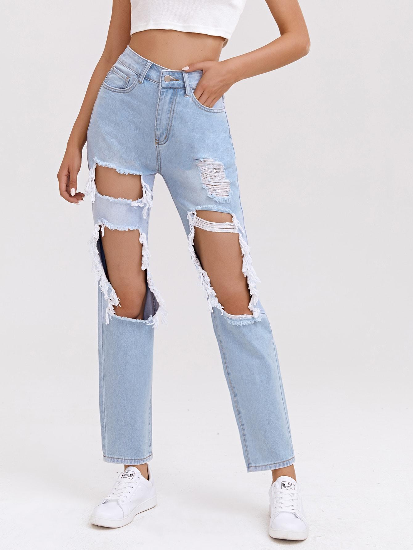 High Waist Ripped Straight Leg Jeans thumbnail