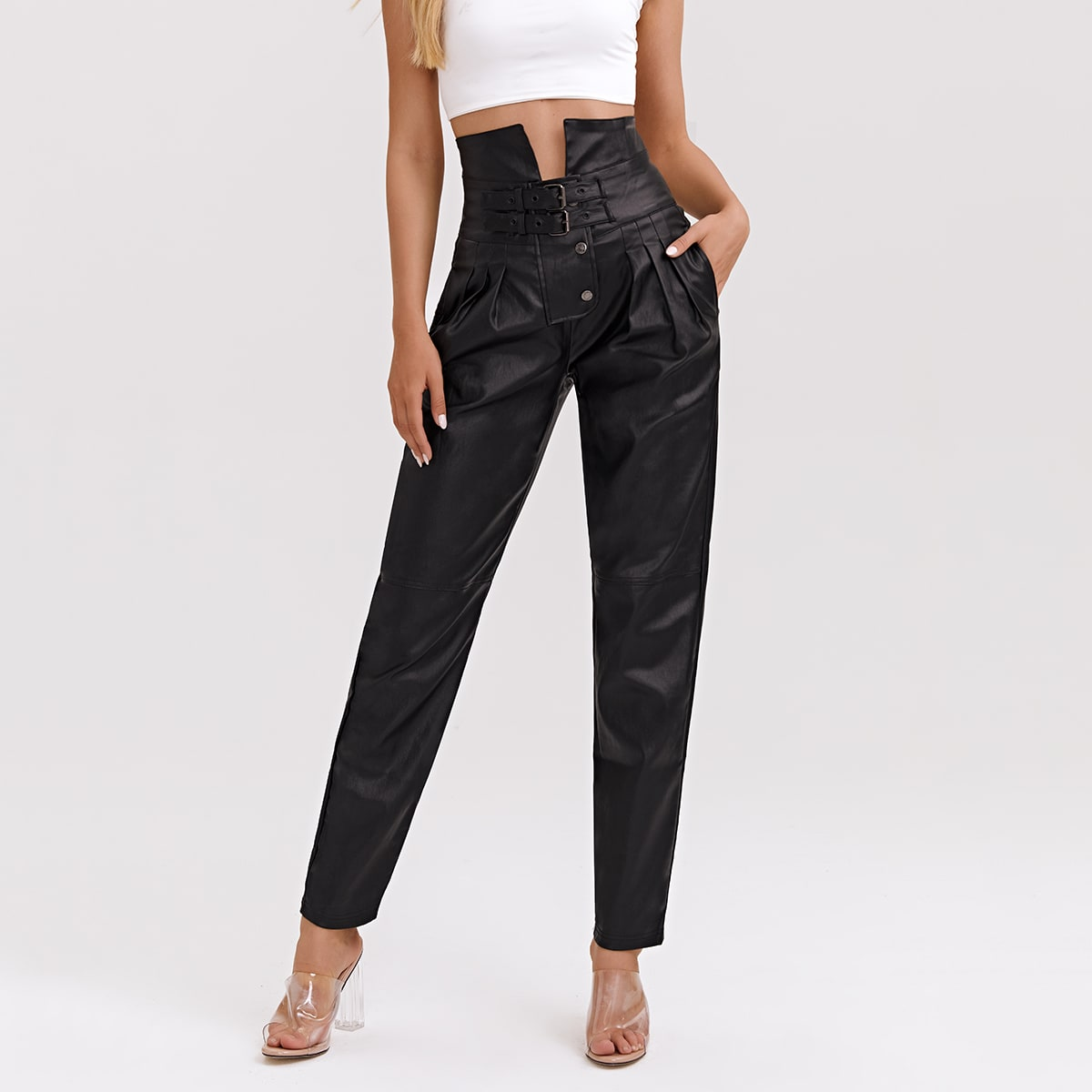 High Waisted High Stretch Buckle Front Mom Jeans