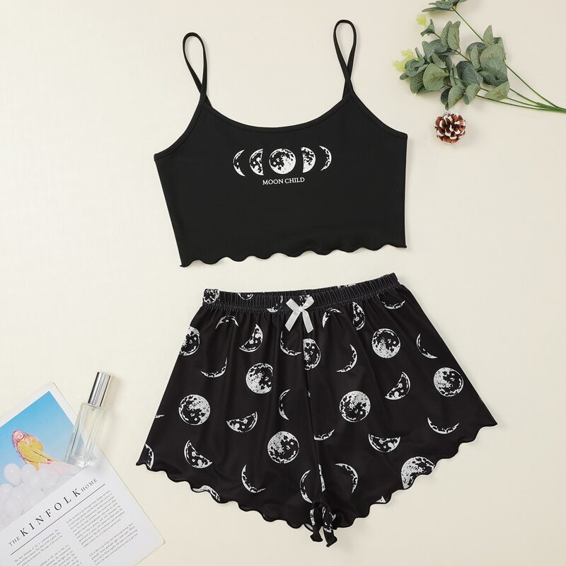 Moon And Letter Graphic Scallop Trim Cami Pajama Set, Black