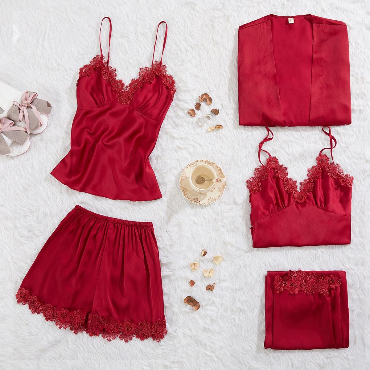 Контрастные кружева Одноцветный Элегантный Комплект пижамы