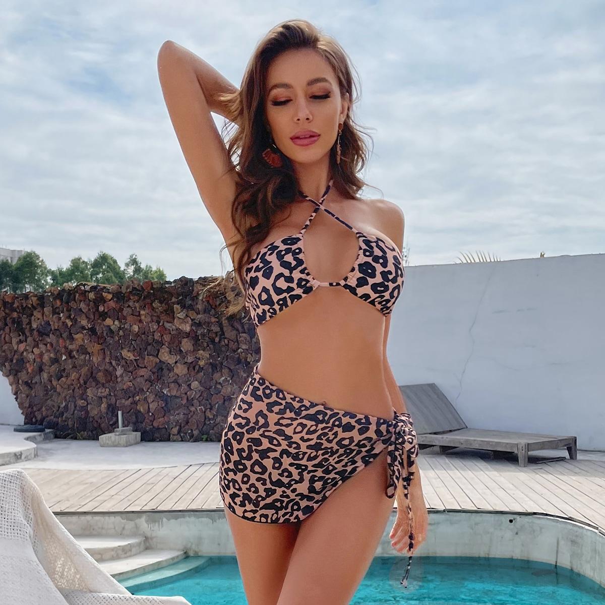 SHEIN / 3pack Leopard Halter Bikini Swimsuit & Beach Skirt