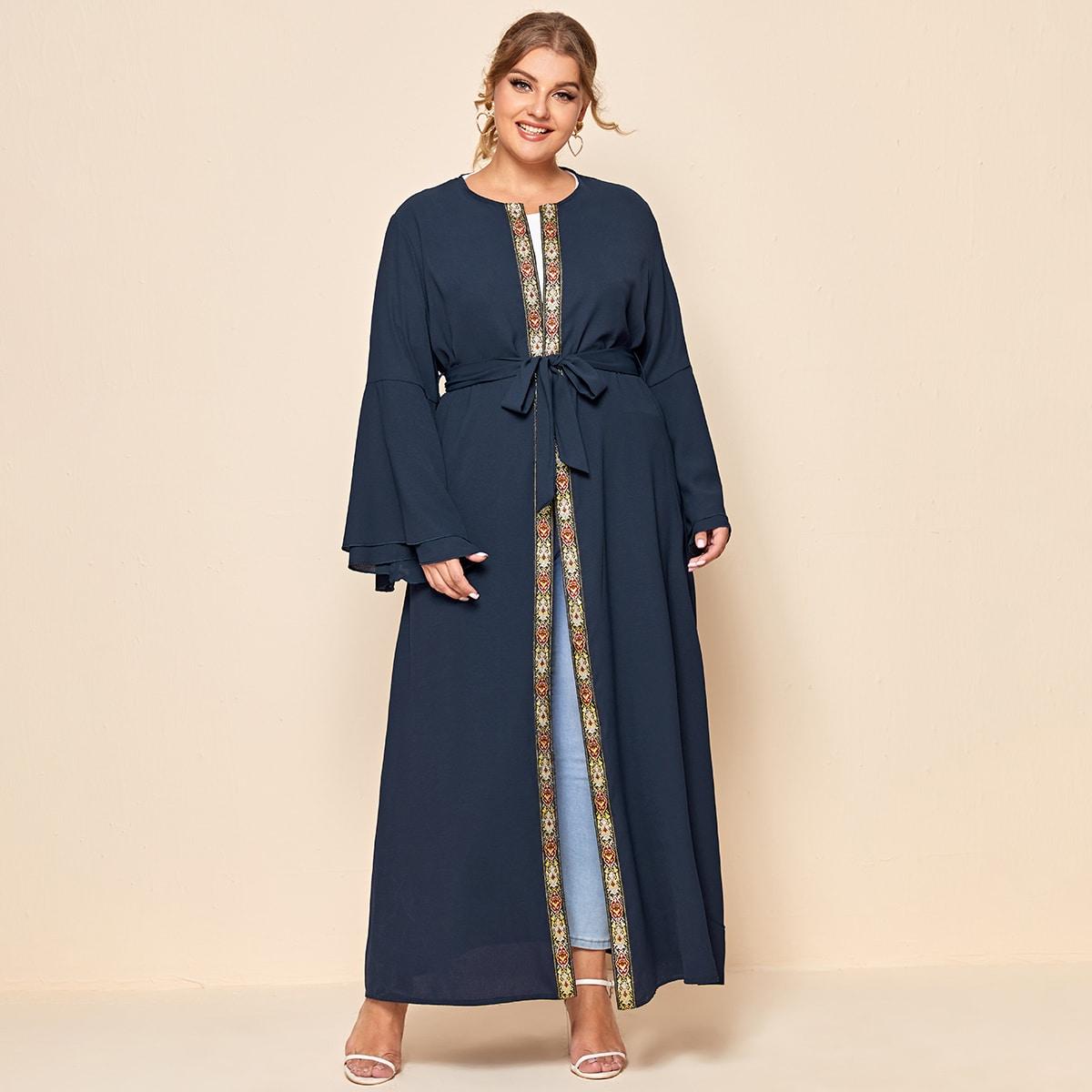 С поясом геометрический принт скромный кимоно размер плюс