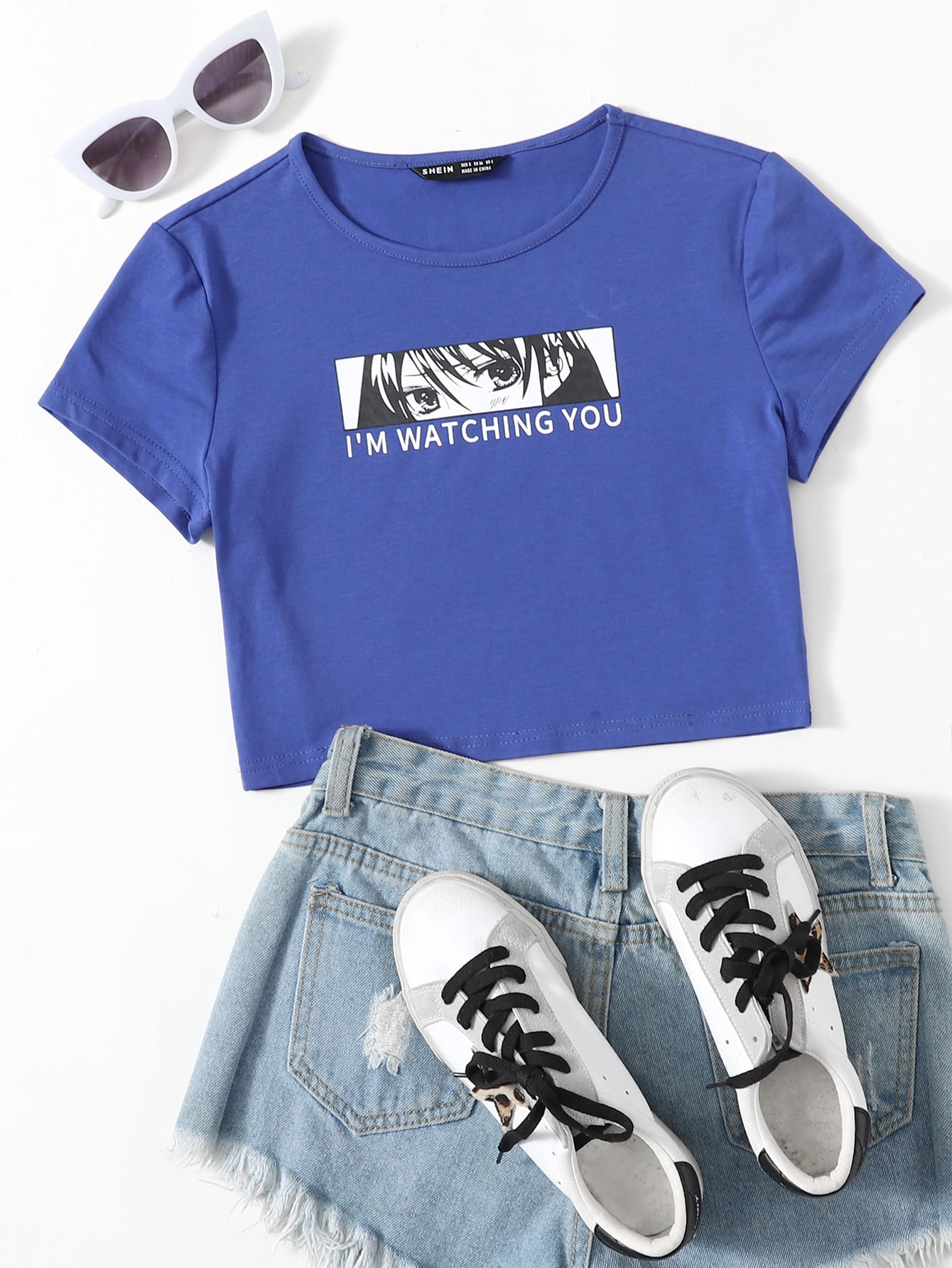 Slogan and Figure Graphic Crop Top thumbnail