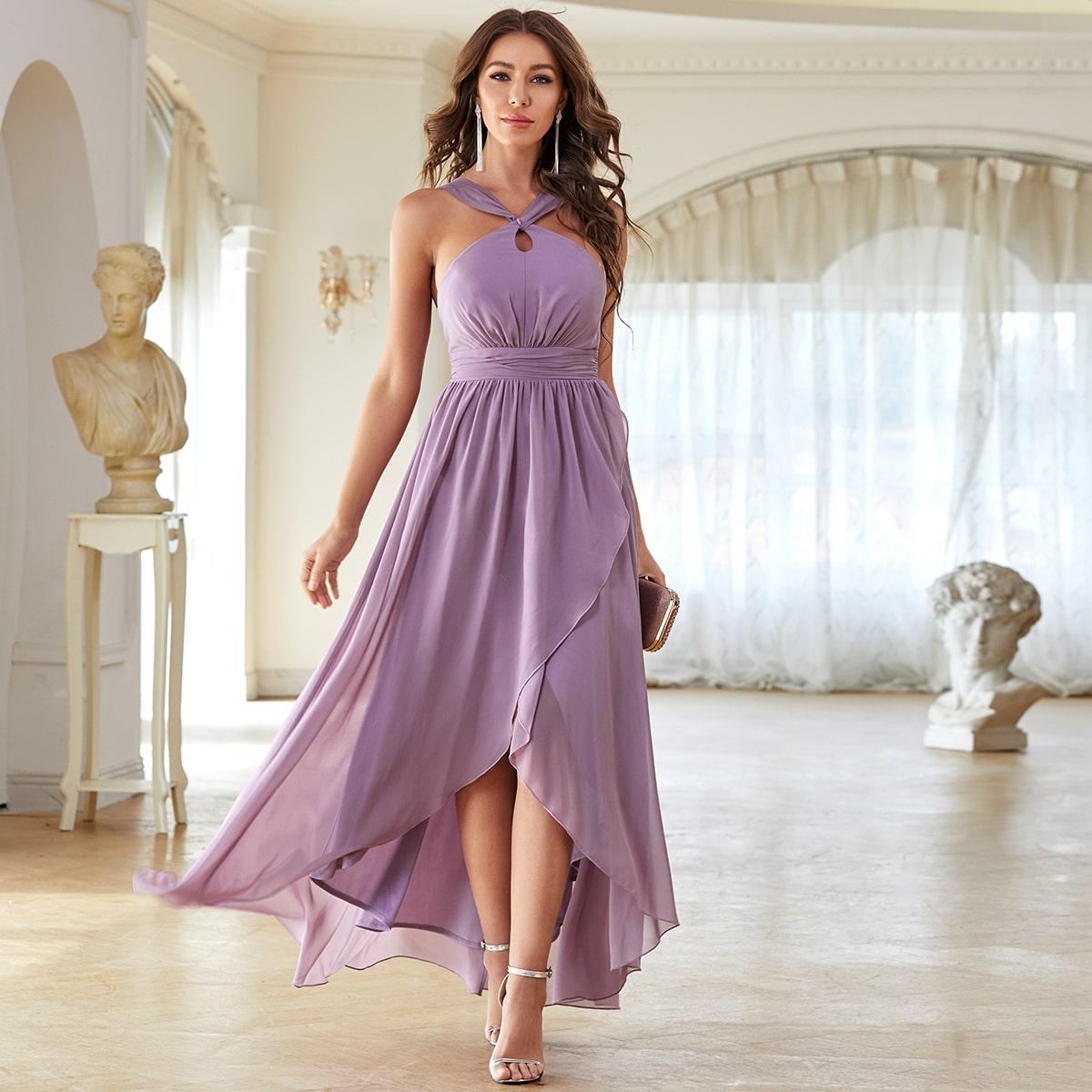 Открытая спина Одноцветный Очаровательный Платье