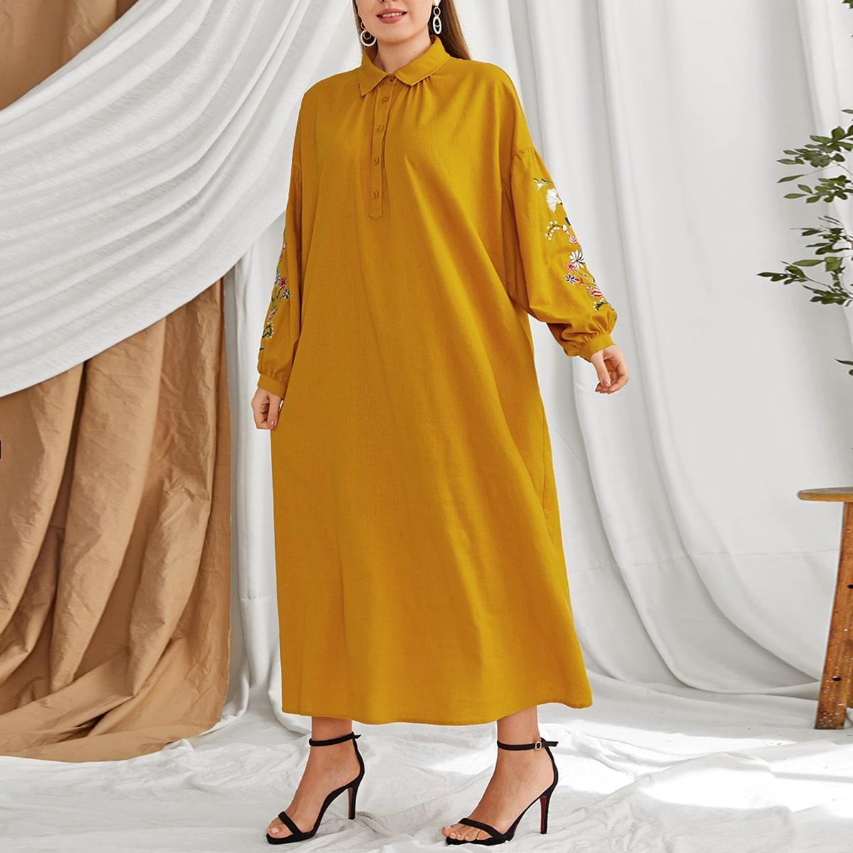Вышивка Цветочный Бохо Платья размер плюс
