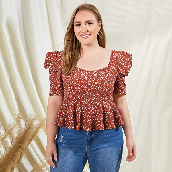 Plus Ditsy Floral Puff Sleeve Peplum Top, Multicolor