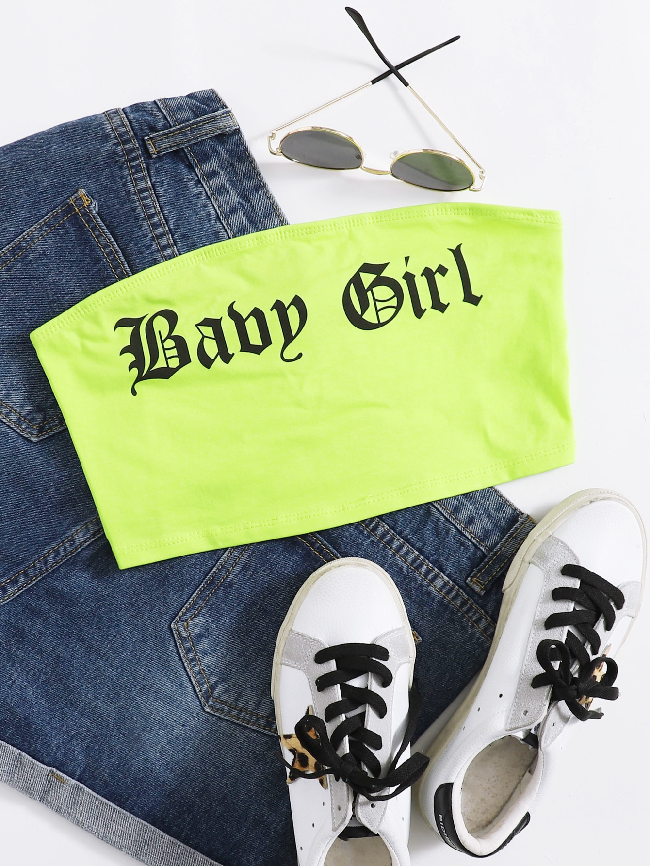 Neon Green Letter Graphic Crop Tube Top thumbnail