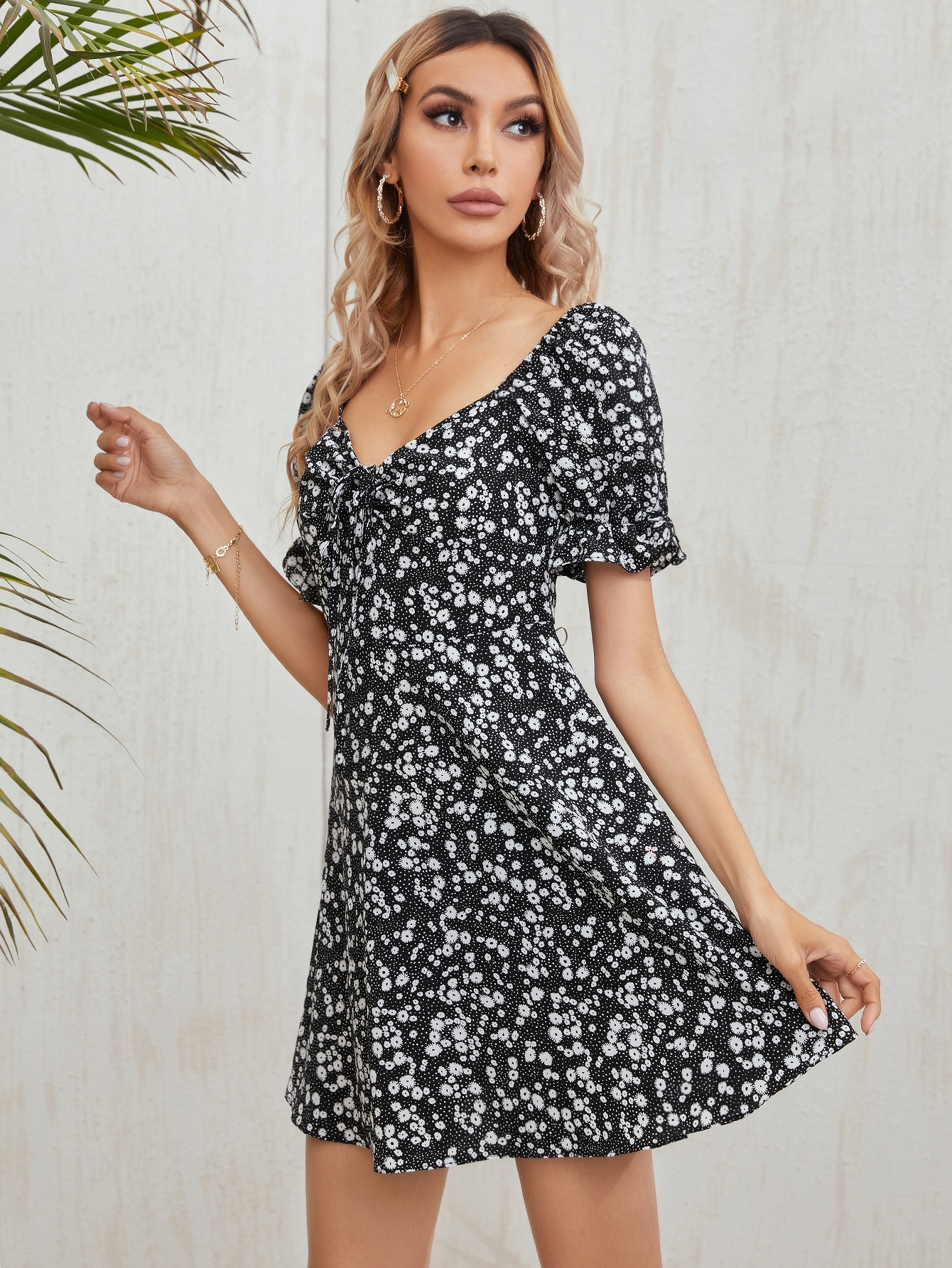 Tie Front Ruffle Cuff Ditsy Floral Dress thumbnail