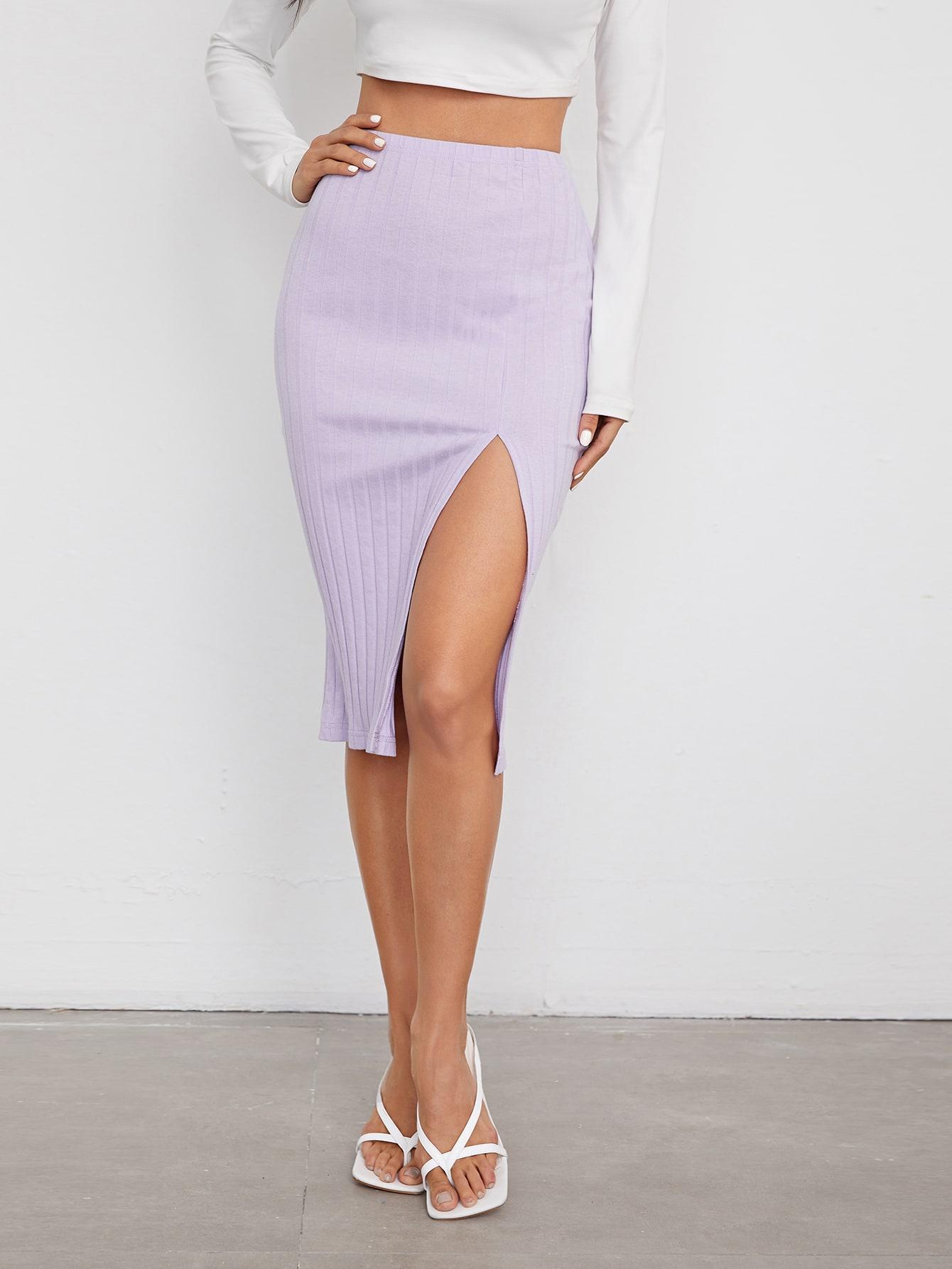 Split Thigh Rib-knit Pencil Skirt thumbnail