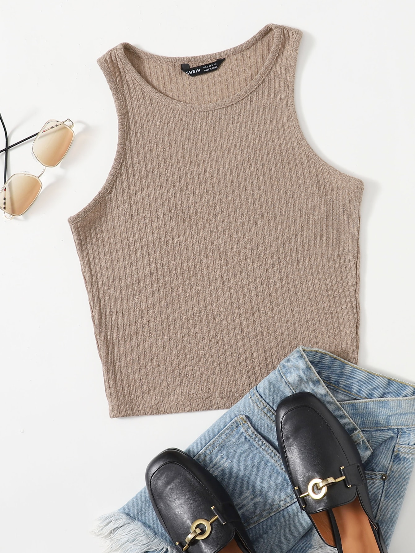 Solid Rib-knit Tank Top thumbnail