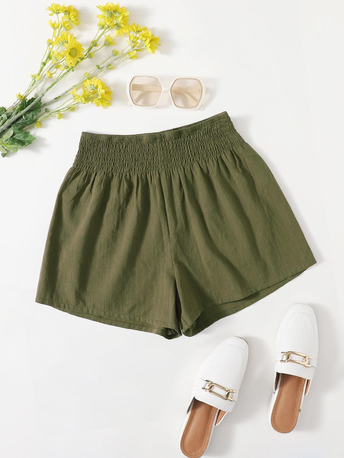 Shirred Wide Waistband Shorts thumbnail