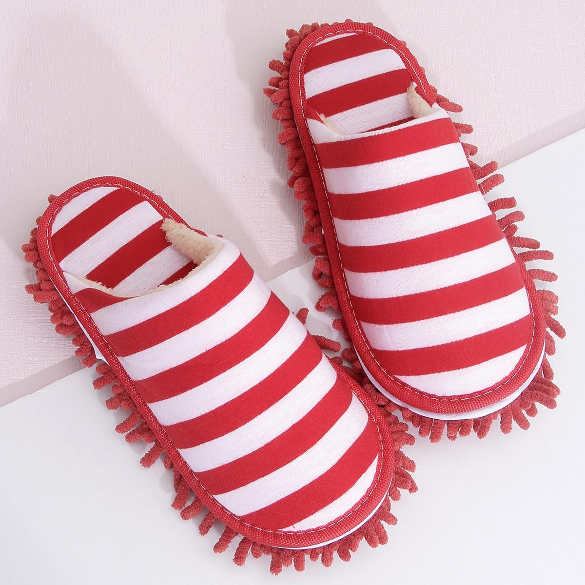 SHEIN / Chenille Fringe Decor Striped Bedroom Slippers