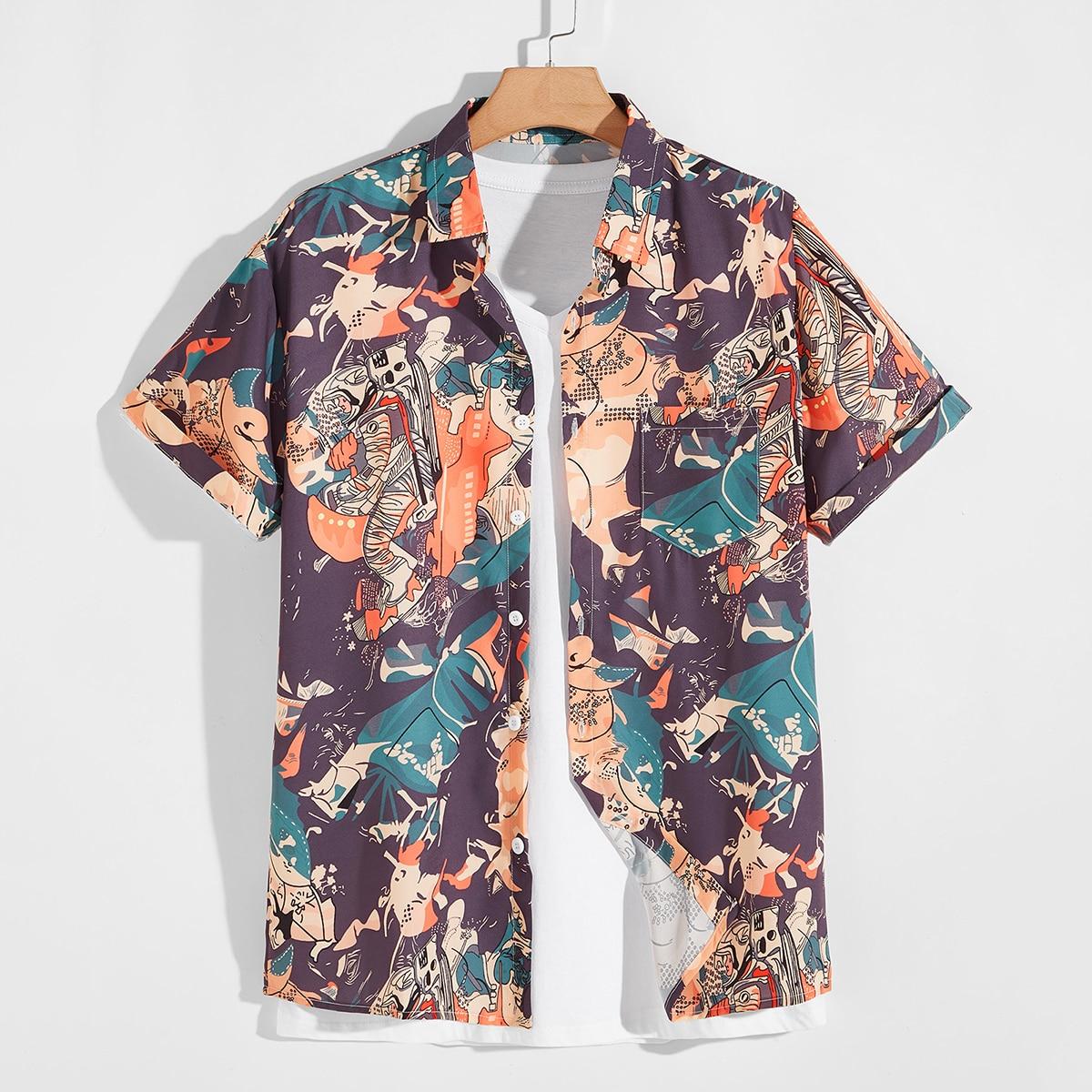 Карман Мультяшный принт Институтский Мужские рубашки по цене 960