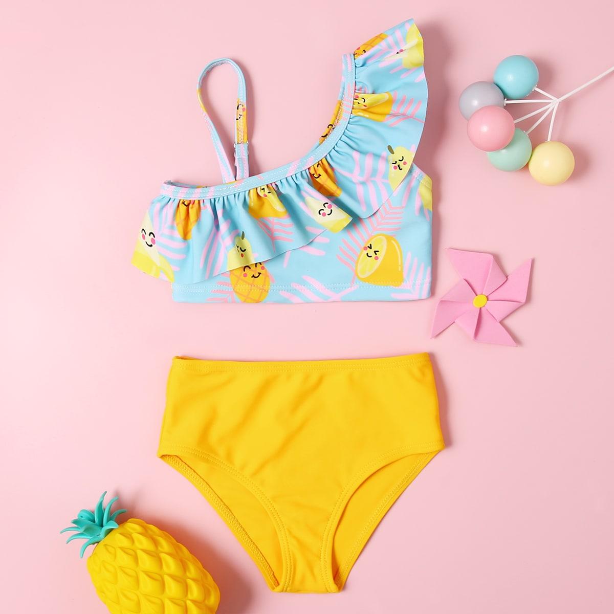 Bikini mit Obst & Blatt Muster und Rüschen