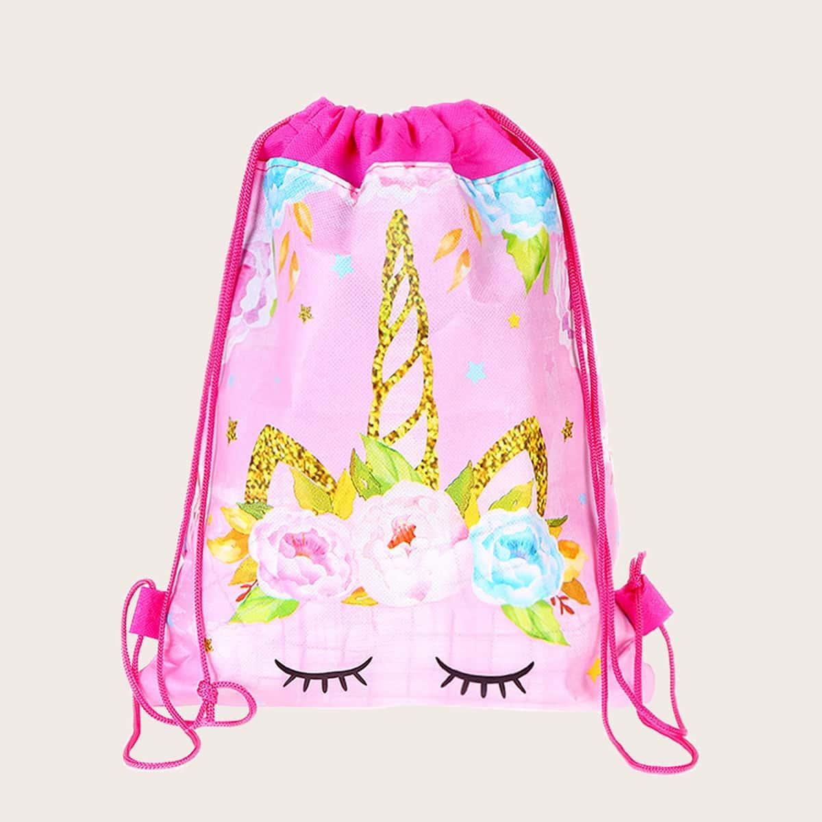 Рюкзак на кулиске с узором единорога для девочек SheIn skbag18201229106