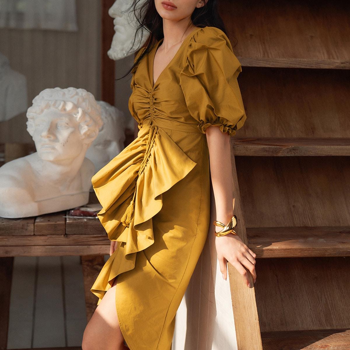 Платье из 100% хлопка с пышными рукавами