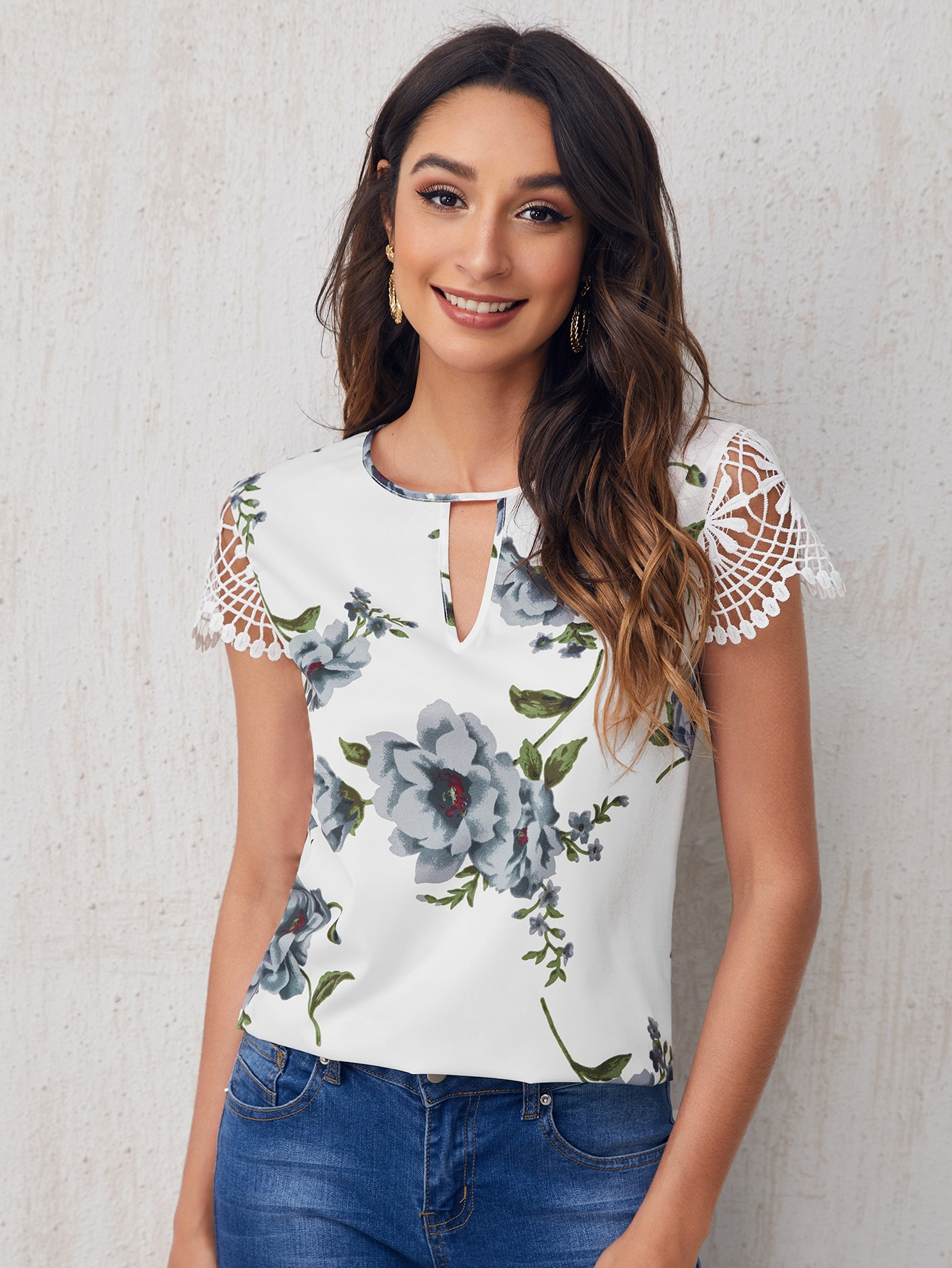 Keyhole Neck Guipure Lace Sleeve Floral Top thumbnail