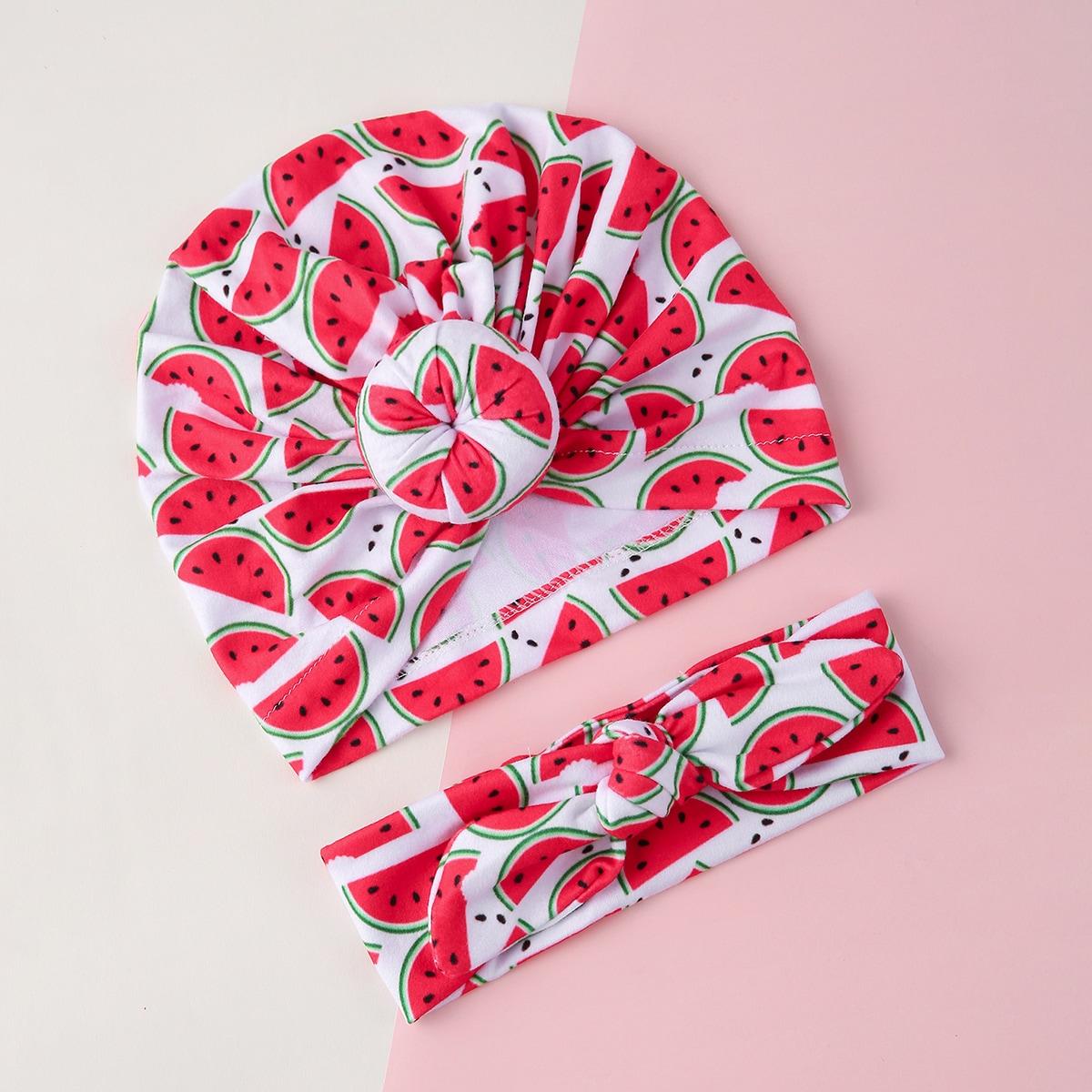 Baby Hut mit Obst Muster & Stirnband