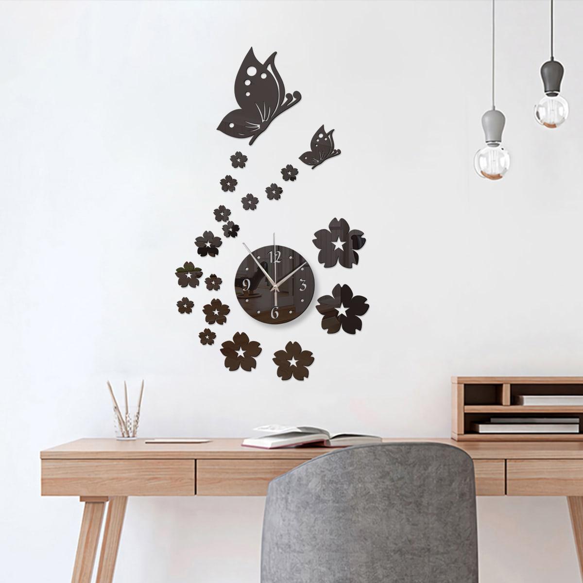 1 Set Wanduhr mit Blumen & Schmetterling Design und Spiegelfläche