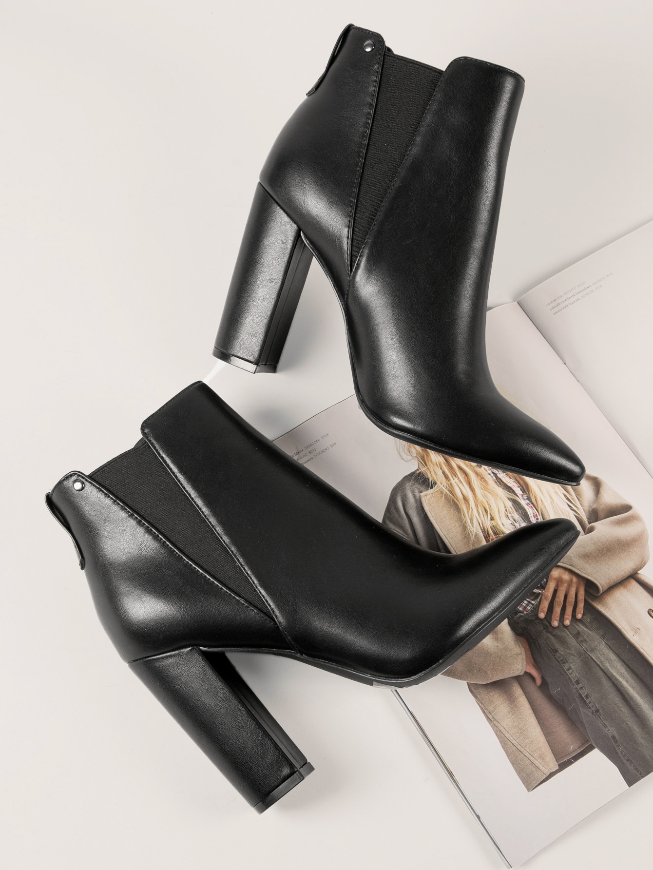 Faux Leather Slip-On High Heel Ankle Boots