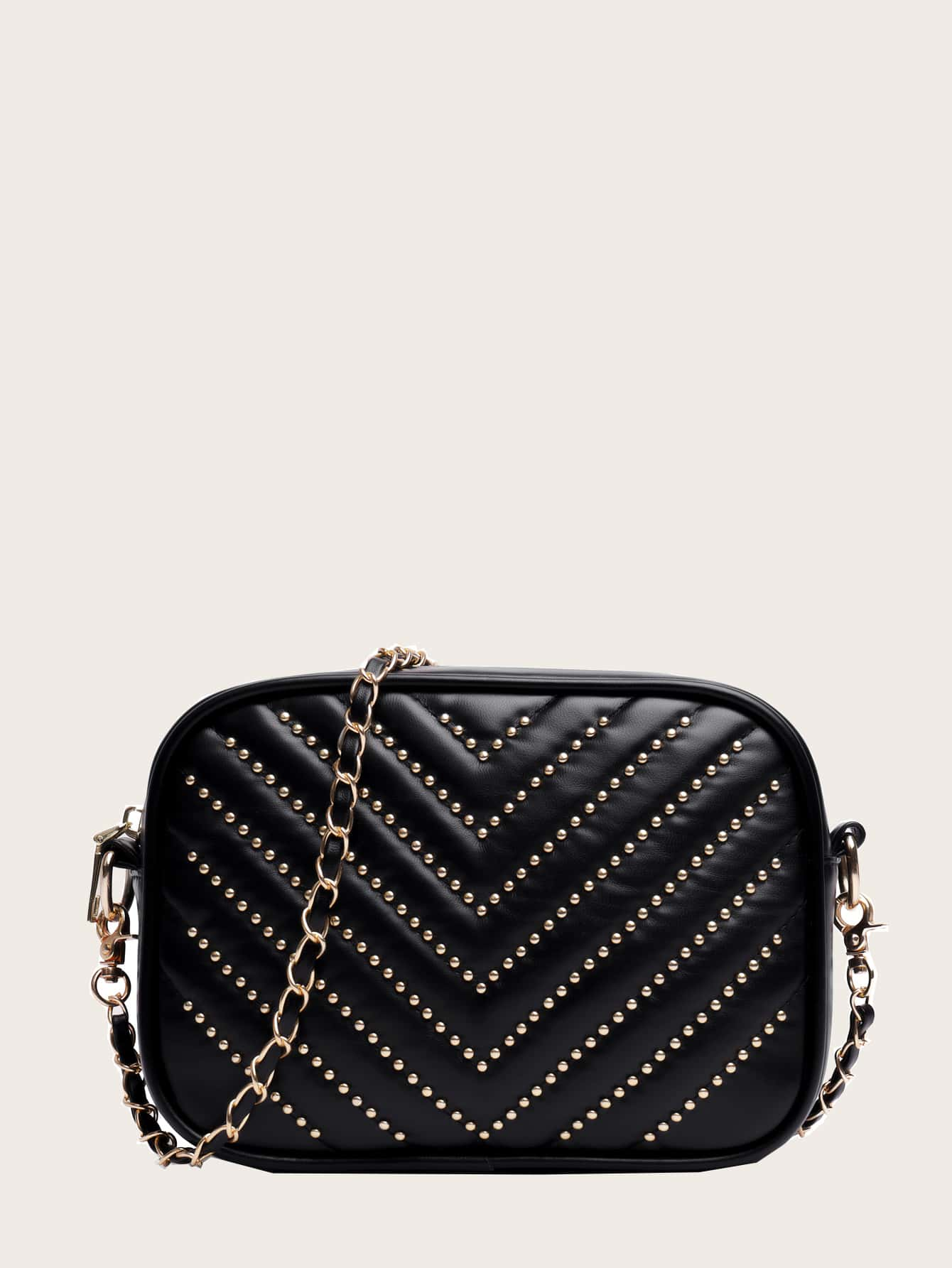 Studded Decor Chevron Crossbody Bag thumbnail