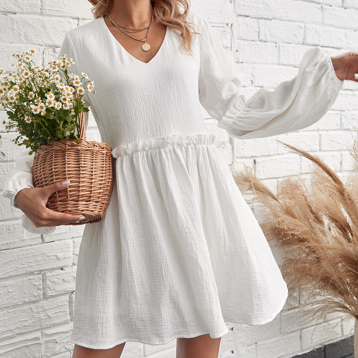 Bishop Sleeve Frill Trim Smock Dress, SHEIN  - buy with discount