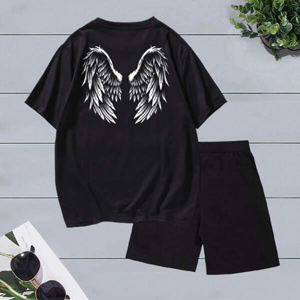 Men Wings Print Tee & Drawstring Waist Shorts, Black