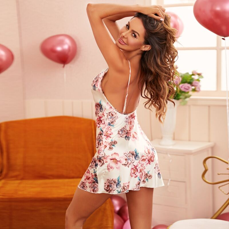 Satin Floral Print Backless Cami Nightdress, Multicolor