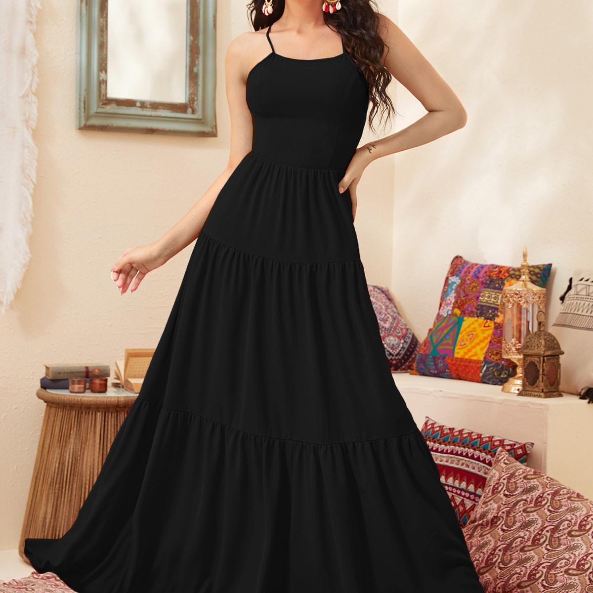 Платье-халтер макси с открытой спиной и шнурком