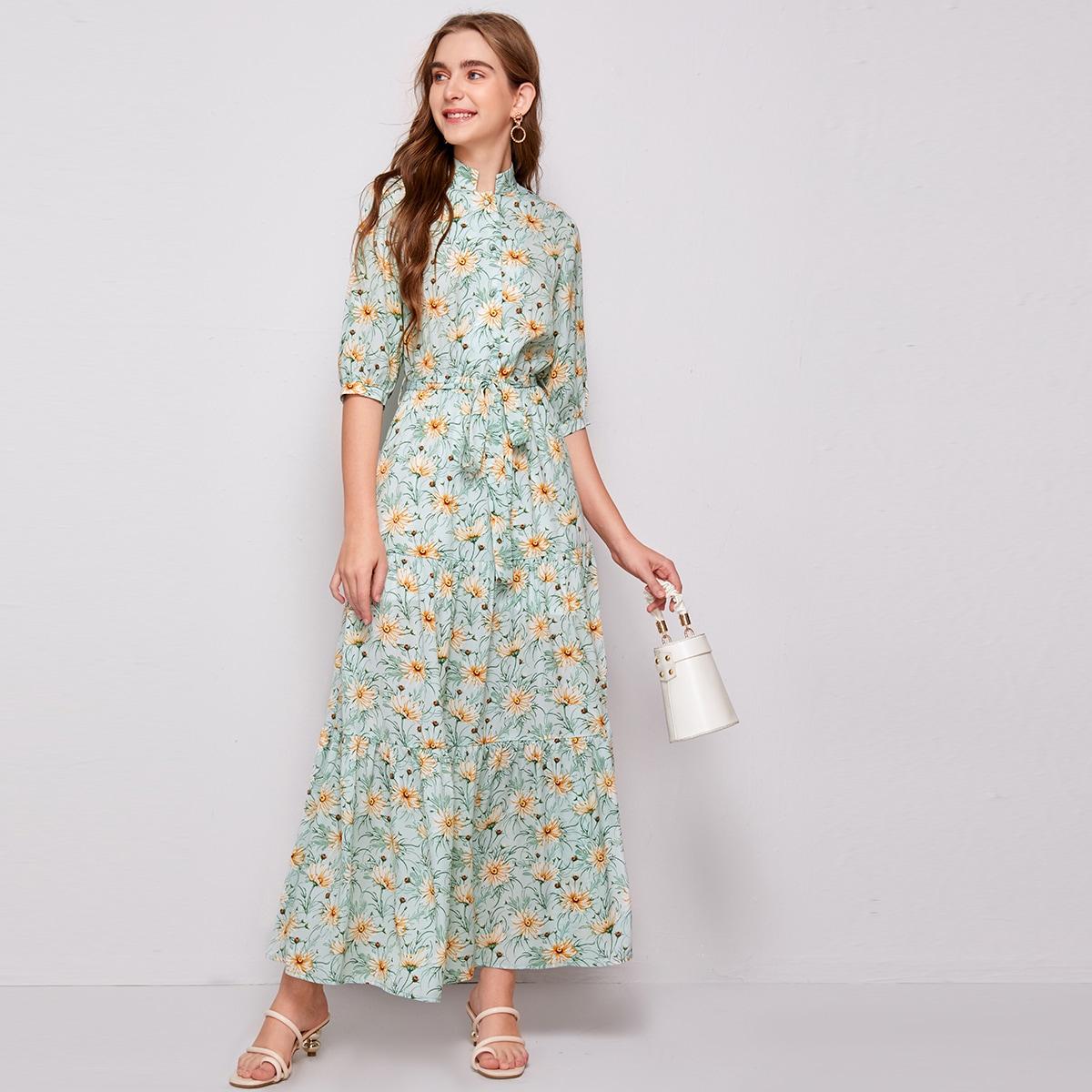 с поясом Цветочный принт Бохо Платье