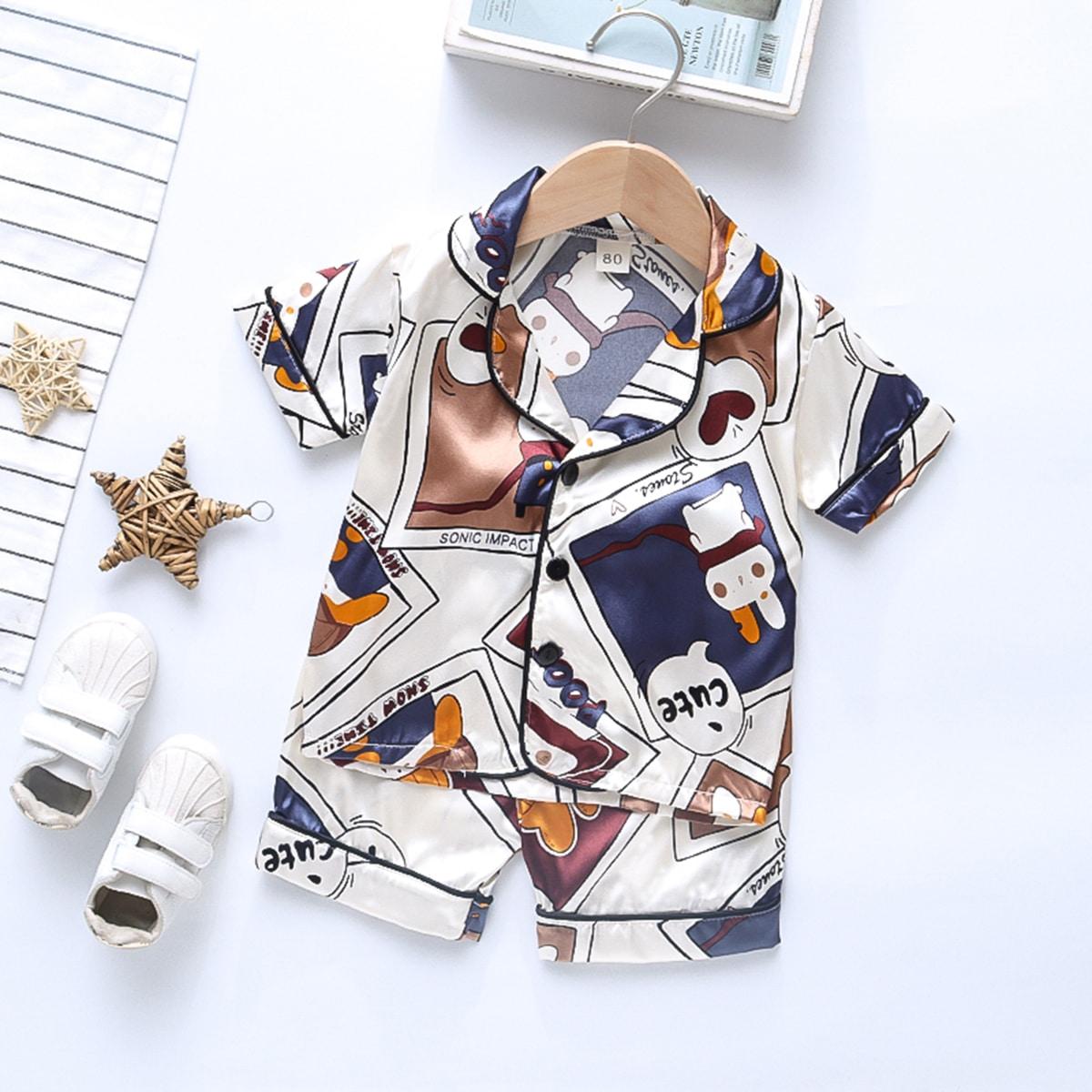 Контрастная отделка Мультяшный принт милый Домашняя одежда для мальчиков
