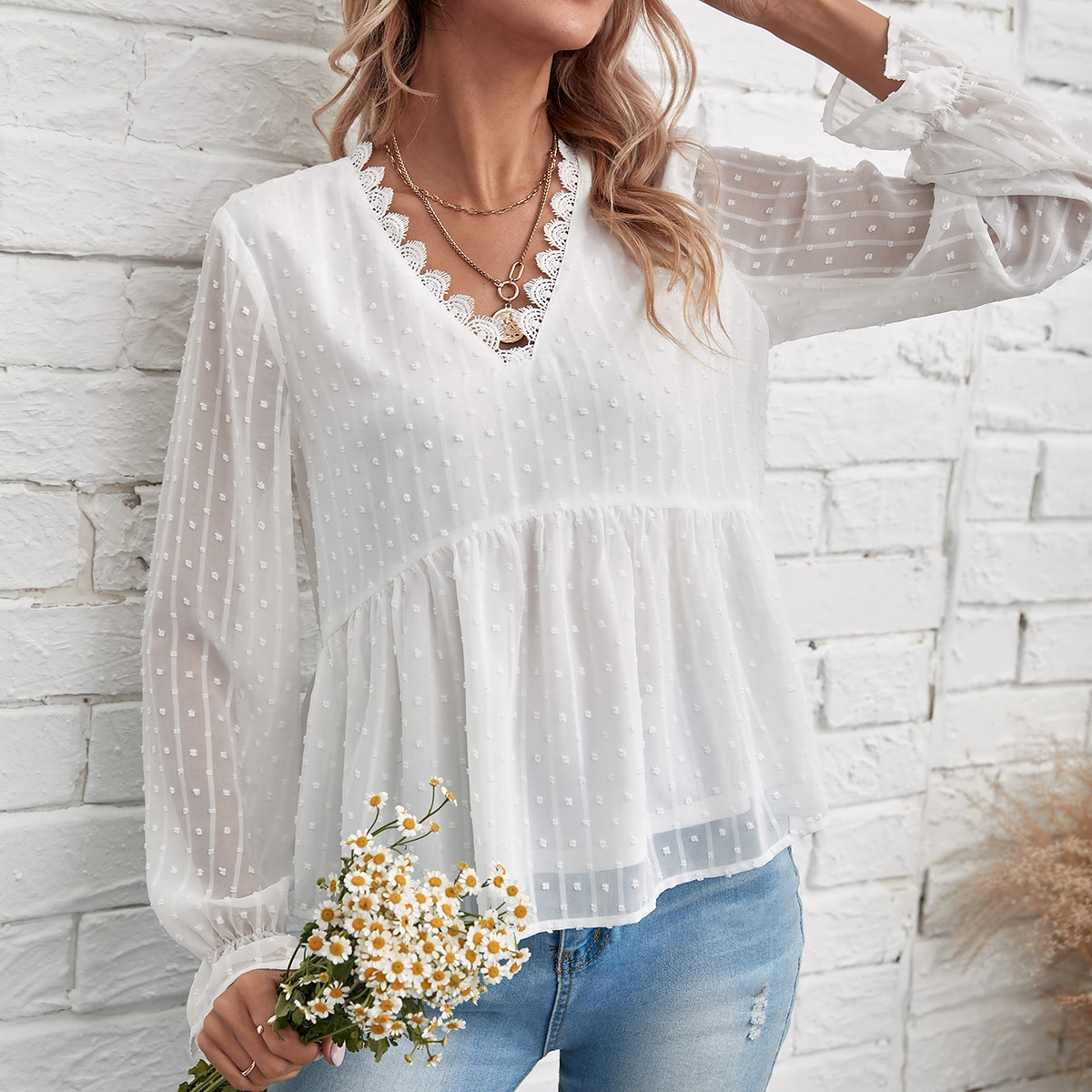 Contrast Lace Swiss Dot Peplum Blouse, SHEIN  - buy with discount